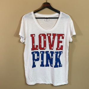 VS PINK USA Tee (Can Fit Size Large)